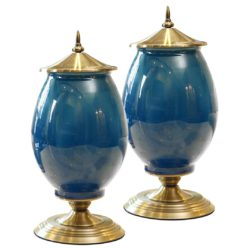 SOGA 2X 40cm Ceramic Oval Flower Vase with Gold Metal Base Dark Blue