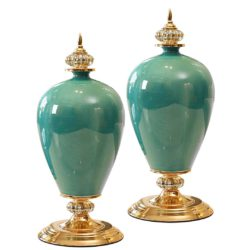 SOGA 2X 42cm Ceramic Oval Flower Vase with Gold Metal Base Green