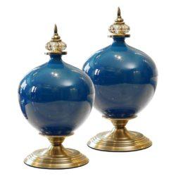 SOGA 2X 38cm Ceramic Oval Flower Vase with Gold Metal Base Dark Blue