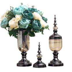 SOGA 2X Clear Glass Flower Vase with Lid and Blue Flower Filler Vase Black Set