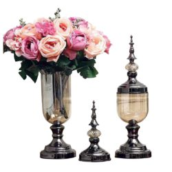 SOGA 2X Clear Glass Flower Vase with Lid and Pink Flower Filler Vase Black Set