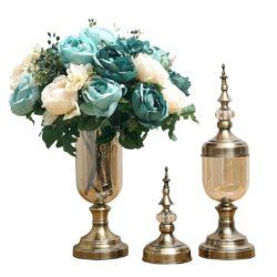 SOGA 2X Clear Glass Flower Vase with Lid and Blue Flower Filler Vase Bronze Set