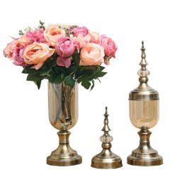 SOGA 2X Clear Glass Flower Vase with Lid and Pink Flower Filler Vase Bronze Set