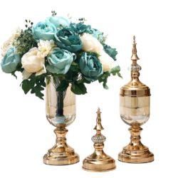 SOGA 2X Clear Glass Flower Vase with Lid and Blue Flower Filler Vase Gold Set