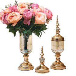 SOGA 2X Clear Glass Flower Vase with Lid and Pink Flower Filler Vase Gold Set