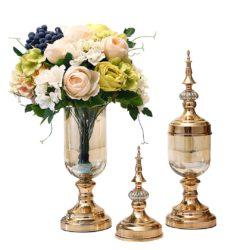 SOGA 2X Clear Glass Flower Vase with Lid and White Flower Filler Vase Gold Set